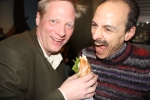 Brian Wansink (Mindless Eating) and Keith (who is being 'mindful' not to bite Brian's hand)
